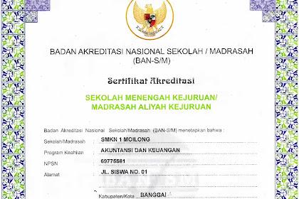 Jurusan Akuntansi dan Multimedia SMK Negeri 1 Moilong Resmi Terakreditasi B