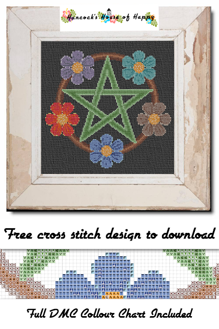 I love all of the bright colours in this free pentacle cross stitch pattern. They are meant to represent Water, Earth, Fire, Air, and Spirit. Which means this free magic cross stitch pattern has a HUGE colour key! But if you wanted to, you could change the cross stitch flowers to be all one colour. Like have five orange flowers if orange suits your aura so to speak. I also like how this cross stitch pentacle pops on the black background. Although I think it would make a pretty cross stitch on any background.