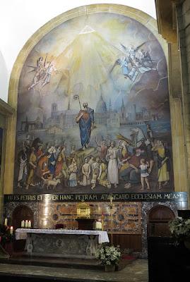 Mural de la Exaltación de San Pedro. Iglesia de San Pedro de Pola de Siero. Casimiro Baragaña