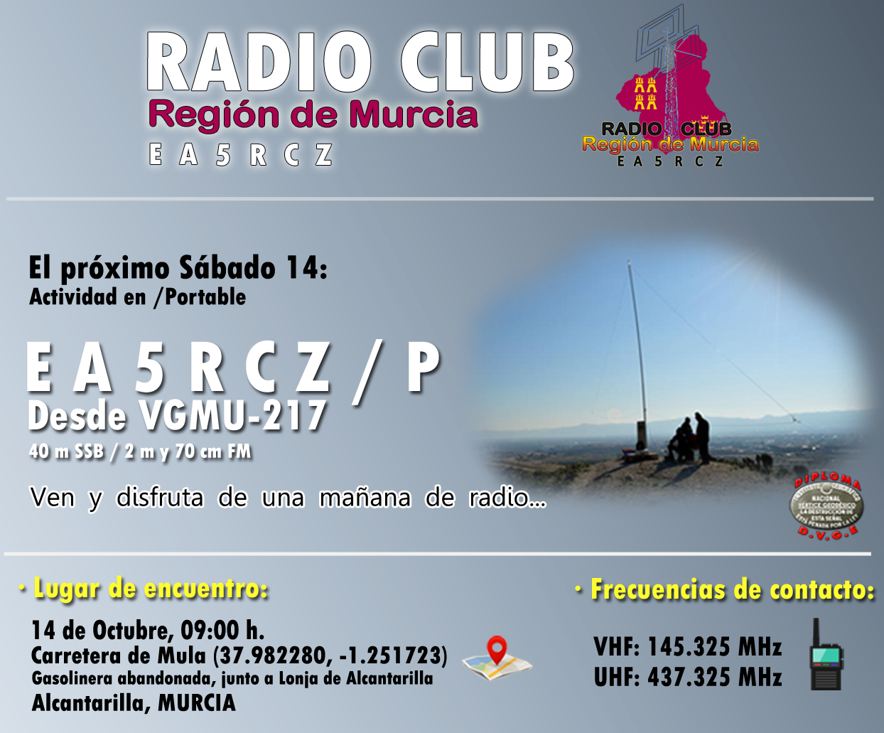 Radio Club Región de Murcia - EA5RCZ: EA5RCZ/p desde VGMU-217