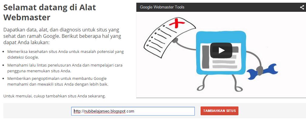Tampilan awal google webmasters tools
