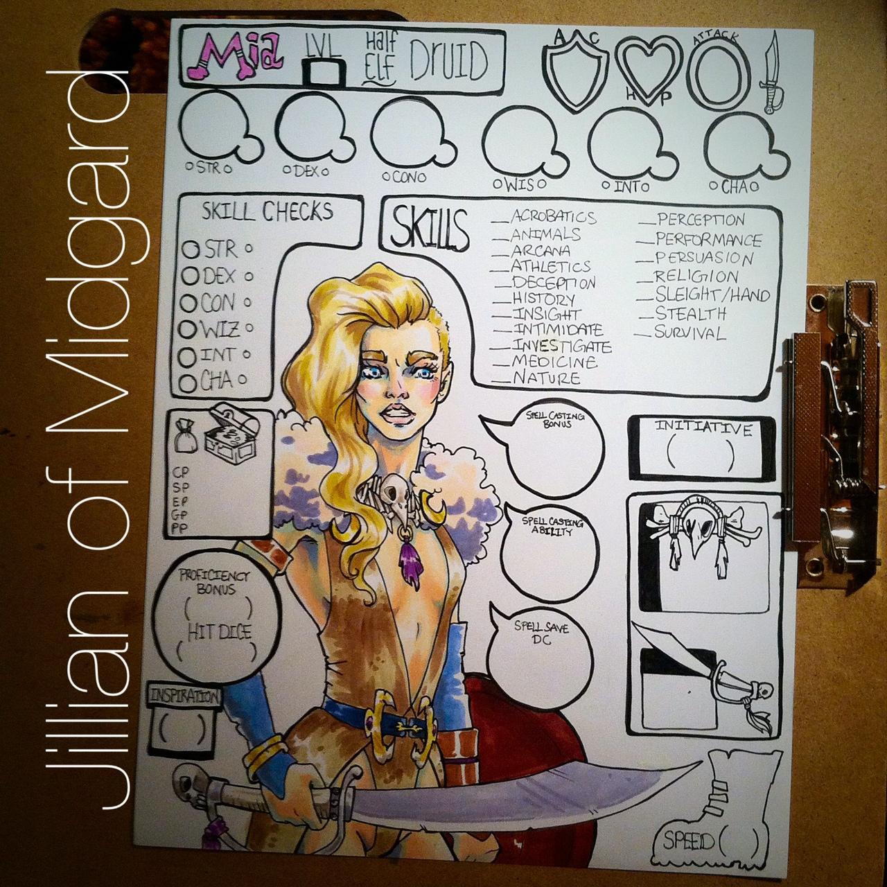 Custom Character Sheet Design : Nerdovore custom d character sheets artistic