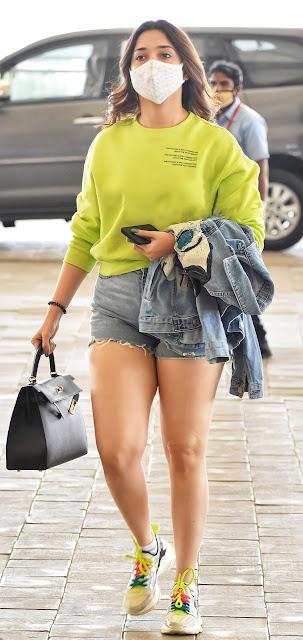 Actress in Denim Shorts