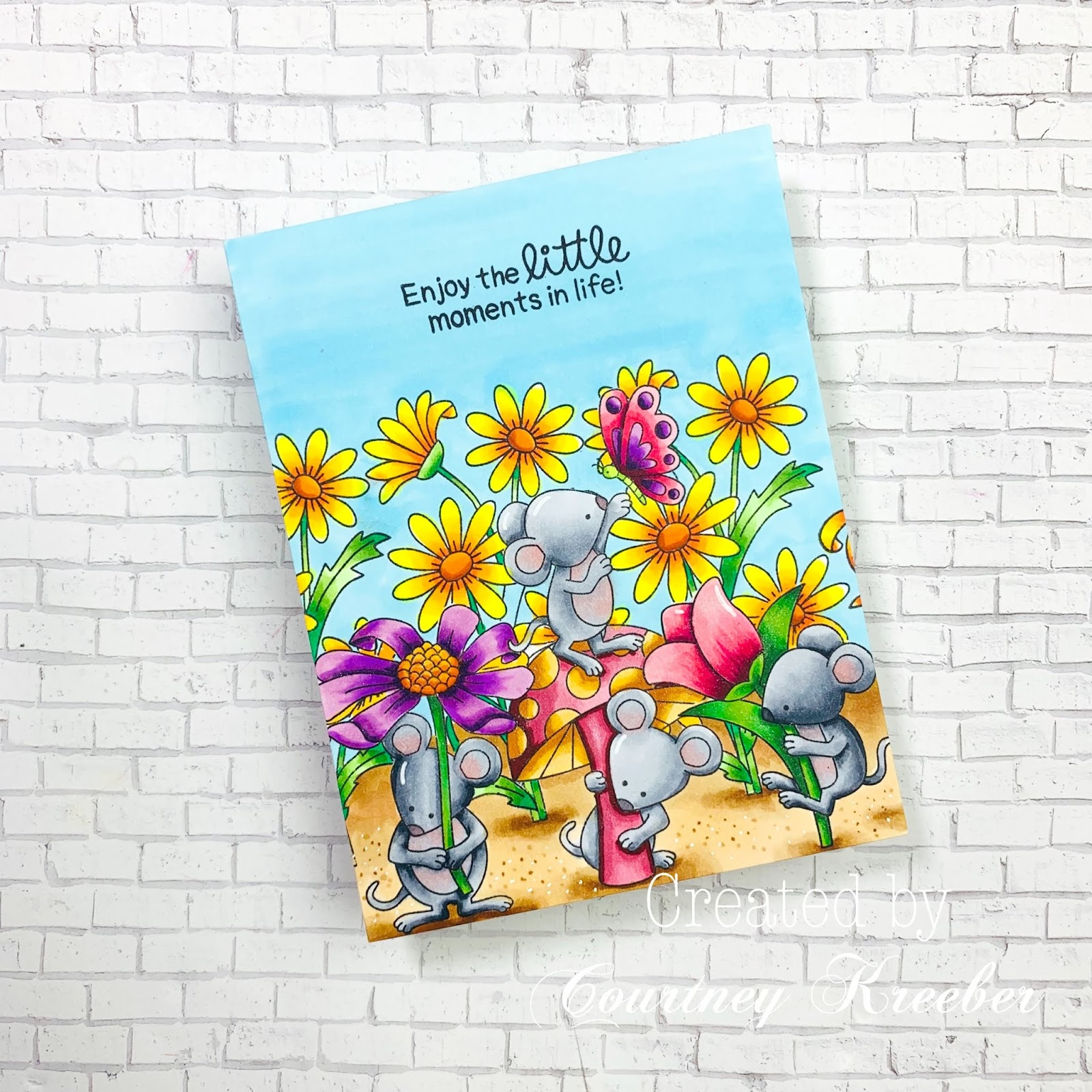 Enjoy the Little Moments Card by June Guest Designer Courtney Kreeber | Garden Mice and Dainty Daisies Stamp Sets by Newton's Nook Designs #newtonsnook #handmade