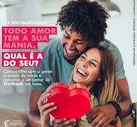 Promoção Dia dos Namorados Shopping Taboão e Outback 'Todo amor tem a sua mania'