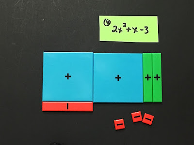Using Algebra tiles to factor a trinomial with A>1 and negatives