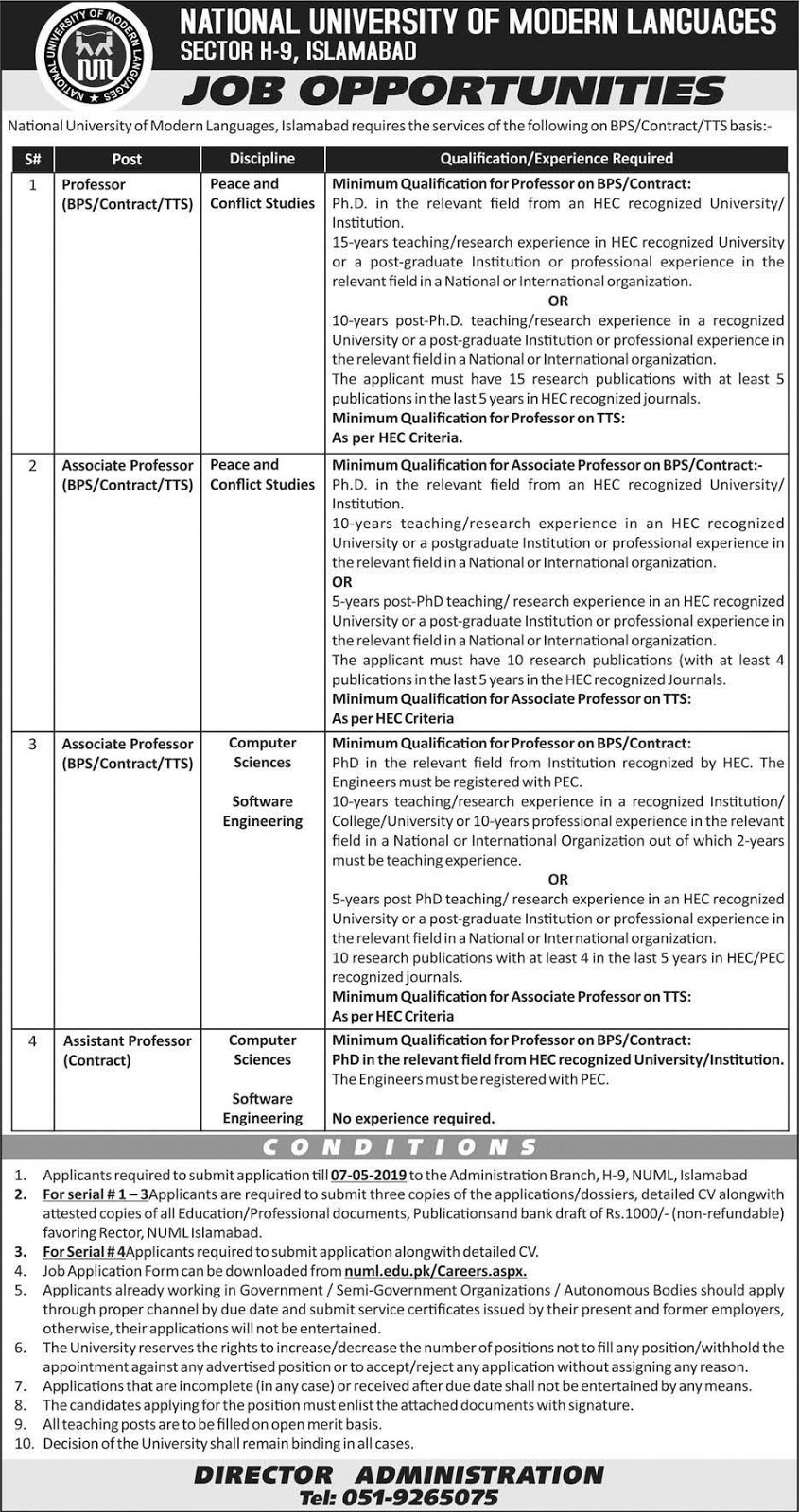 Today Jobs in National University of Modern Languages Islamabad 23 April 2019