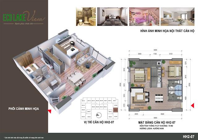 Mặt bằng thiết kế căn 07 tòa HH2 - Eco Lake View