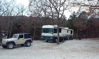rv and jeep in campsite