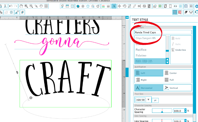 silhouette studio curving text, silhouette studio font name, commercial fonts