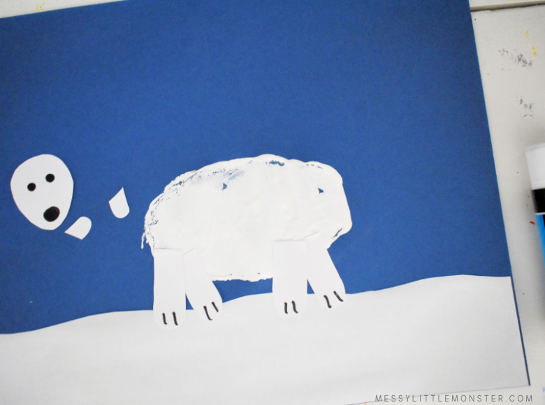 potato print polar bear