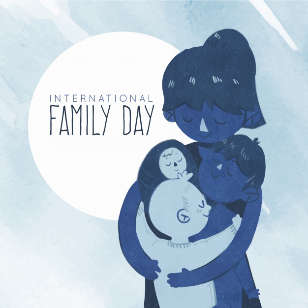 Watercolor family day background in blue tones Free Vector