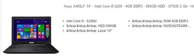 Harga Laptop Asus Core i5 A455LF
