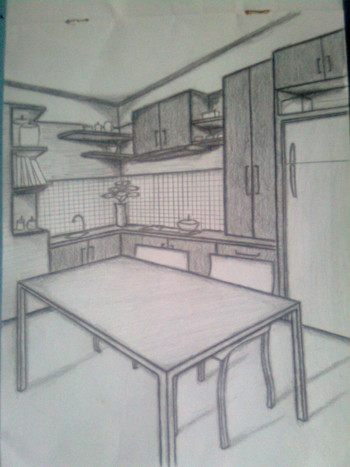 Sketsa Gambar Lemari Dapur