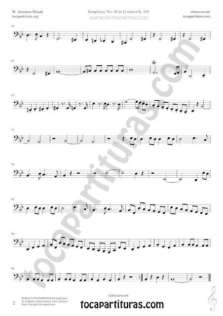2  Contrabass Symphony Nº40 de Mozart Sheet Music for Tuba Music Score