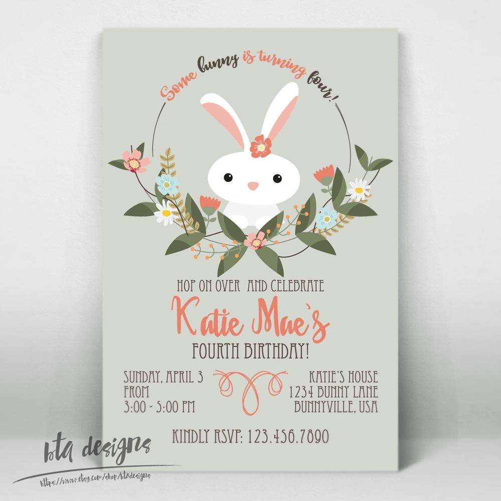 BTA Designs Bunny Birthday Party Invitation - Bunny birthday invitation template