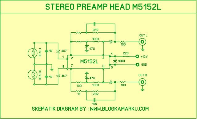 Cara membuat Tape Pream Head Stereo  yang mudah dan simple skema dan layout PCB