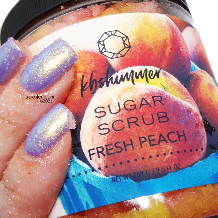 xoxoJen's swatch of KBShimmer Fresh Peach sugar scrub