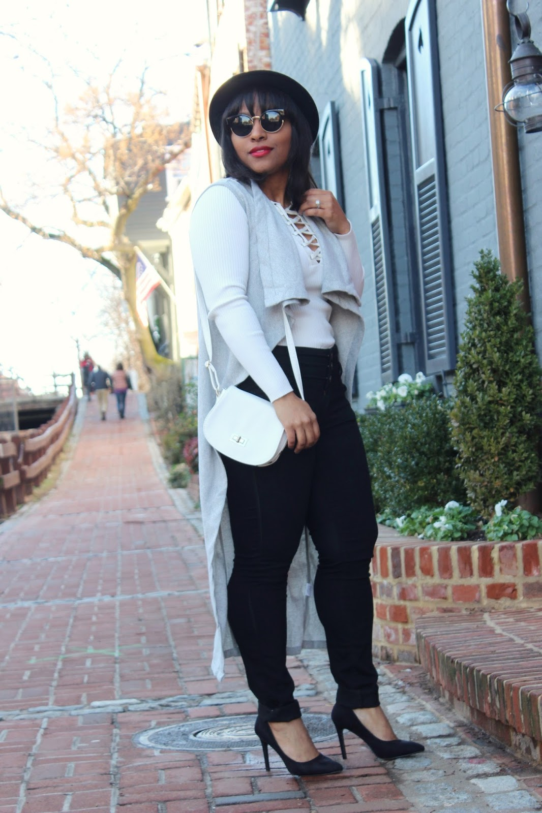 boost your style, new wardrobe, style confidence, cardigan, lace up sweater, georgetown, brick floor