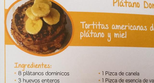 Tortitas americanas de plátano y miel    Receta con Plátano Dominico