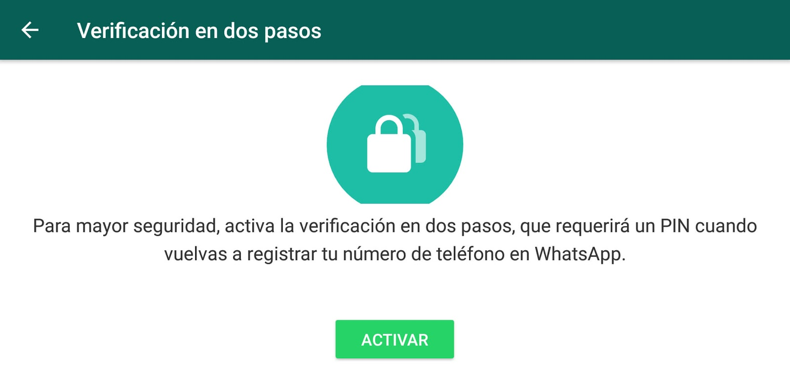La pantalla de verificación de dos pasos en WhatsApp
