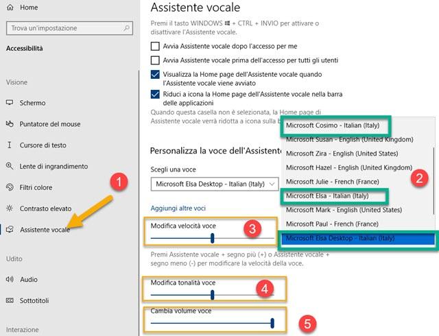 assistente vocale di windows selta delle voci