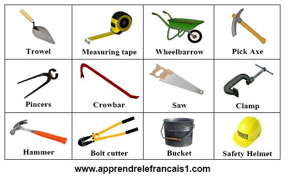 ادوات البناء بالانجليزية
