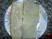 Añadiendo el queso curado de oveja