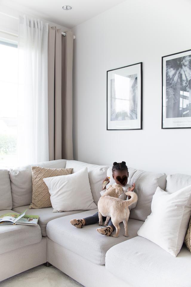 Villa H, sisustus, tytär, chihuahua, koirat, perhe-elämää