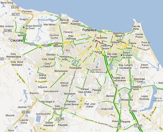 Trânsito de Fortaleza mostrado pelo Google Maps