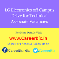 LG Electronics off Campus Drive for Technical Associate Vacancies