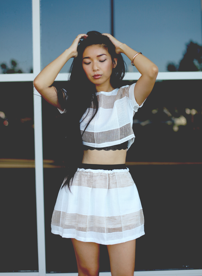 Stephanie Liu of Honey & Silk wearing Savous top and skirt and Nasty Gal Shoe Cult. Find out how to win a $150 gift card to Nasty Gal!