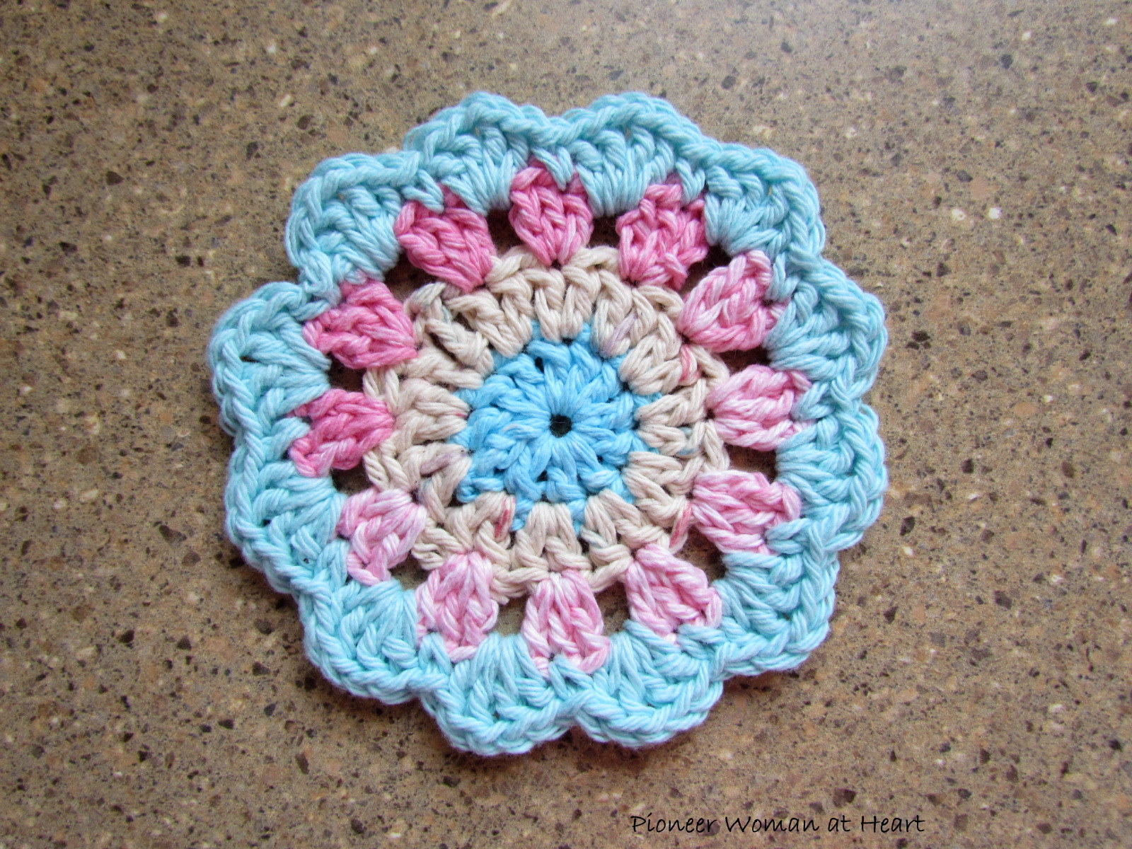 Pioneer Woman at Heart: The Crocheted Flower Cup/Mug Coaster Story