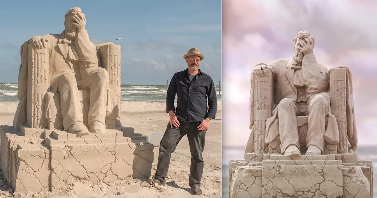 Sculpture Of Lincoln Memorial With A Crumbling Base Wins First Prize In Sand-Sculpture Competition