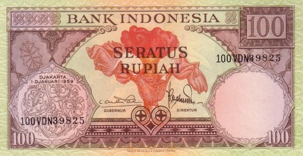100 rupiah 1960 depan