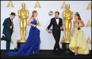 Mark Rylance, Brie Larson, Leonardo DiCaprio y Alicia Vikander en los Oscars 2016
