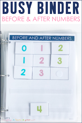 Before and After Numbers Busy Binder Activity