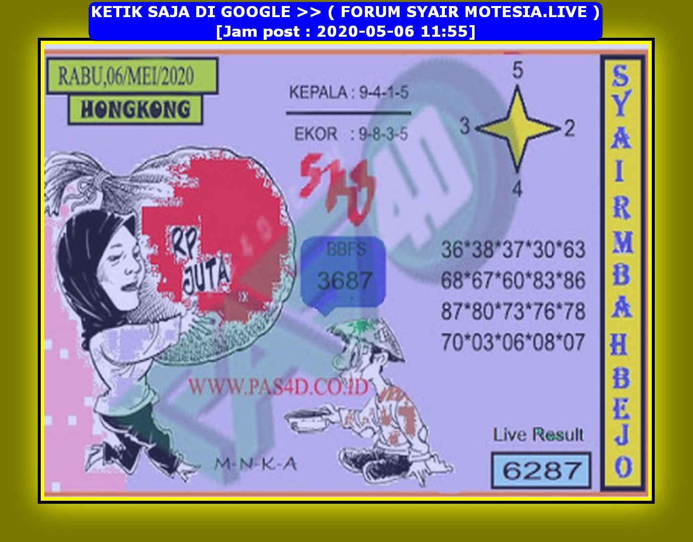 Kode syair Hongkong Rabu 6 Mei 2020 127