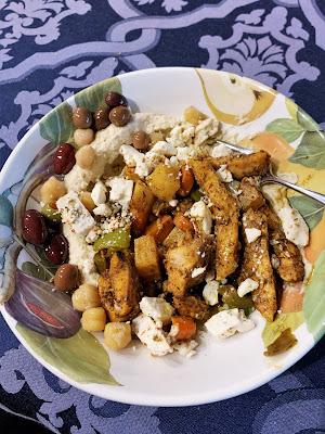 chicken, roasted vegetables, Feta cheese, hummus