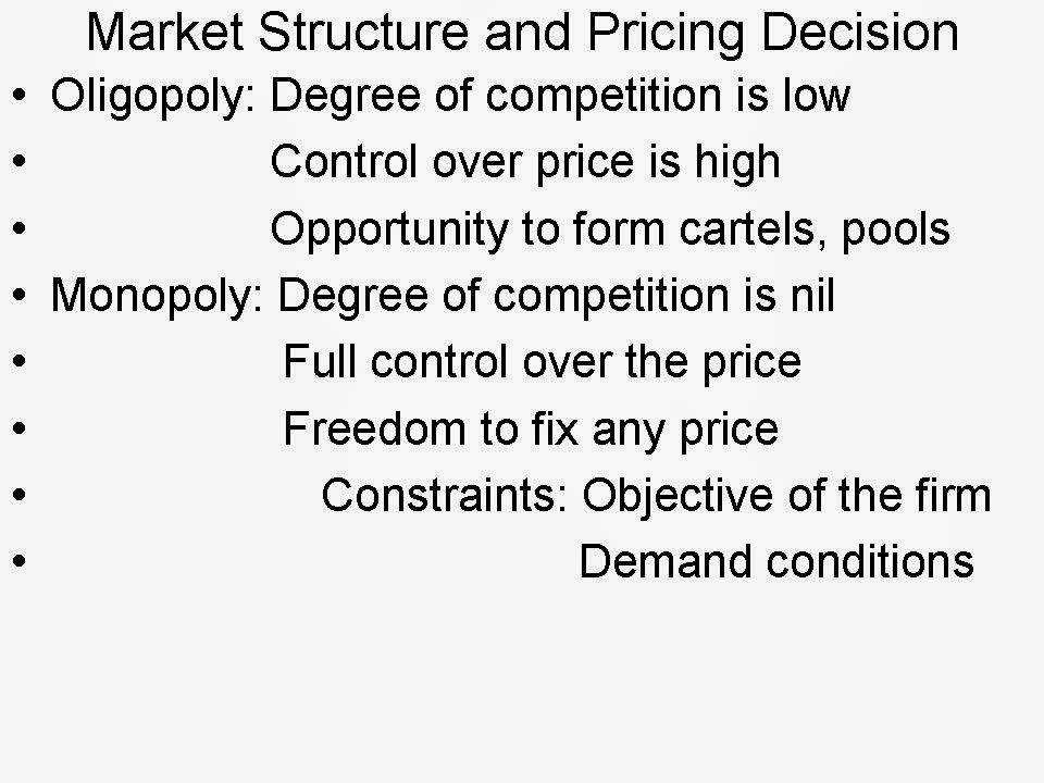 how market structures determine the pricing essay Market structures and relating pricing strategies essay 2098 words | 9 pages market structures and relating pricing strategies abstract this paper analysis's the four categories of the market structure perfect competition monopolistic competition, oligopoly and monopoly marketing structures.