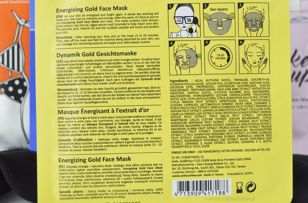 UniTouch mask bad girl - energizing gold face mask