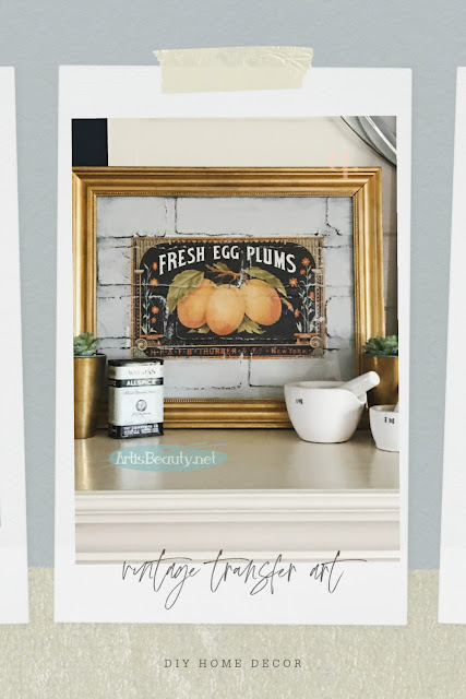 DIY VINTAGE TRANSFER ART USING BRICK PANELING PAINT AND REDESIGN BY PRIMA TRANSFERS