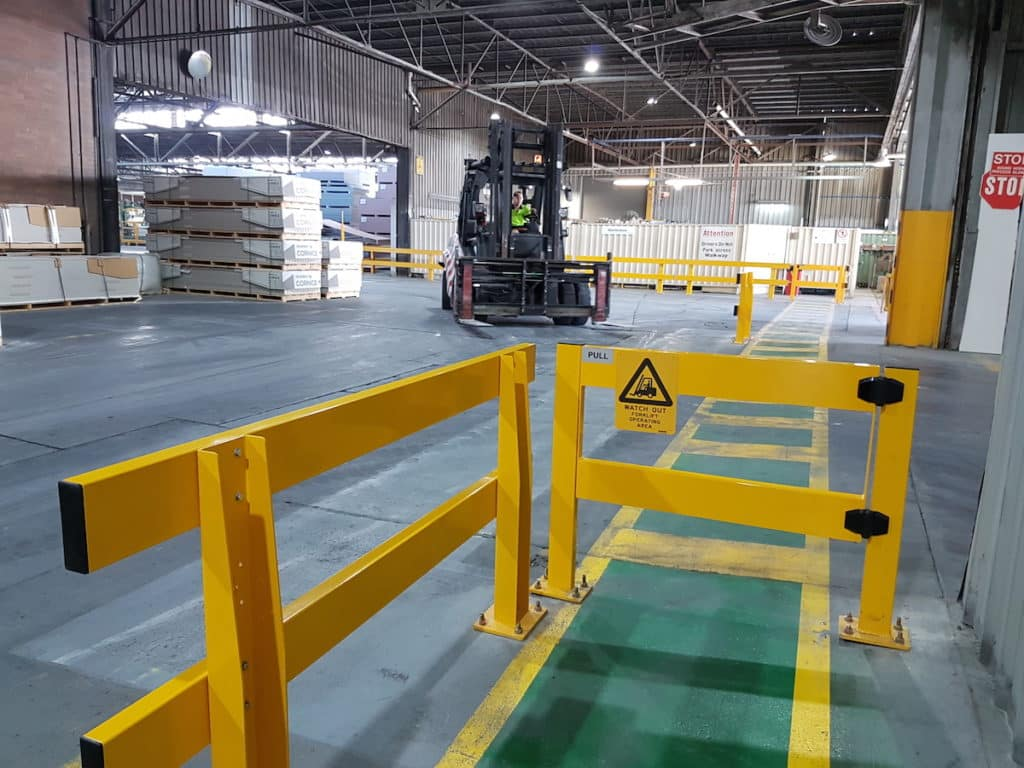 safety barriers in warehouse