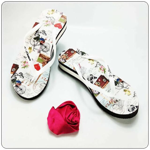 Wedges Sandal Wanita Murah- AMX Spon Tebal Motif Bunga| Pabrik Sandal Garut