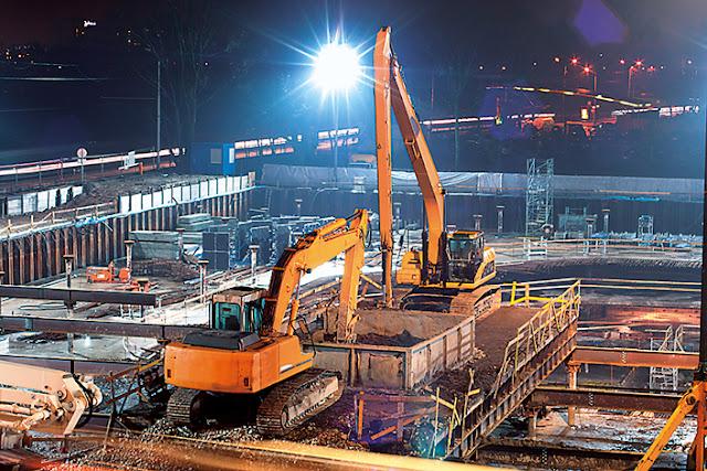 Construction site setup
