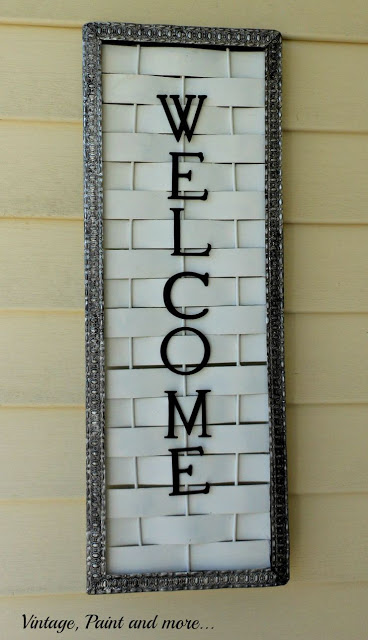 diy welcome sign made from old basketweave board and wood letters