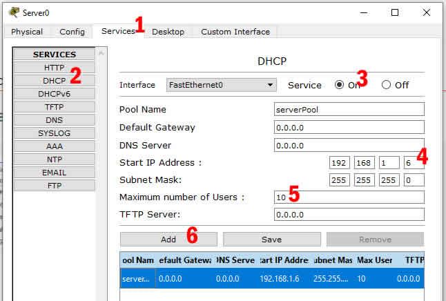 pengaturan dhcp pada perangkat server