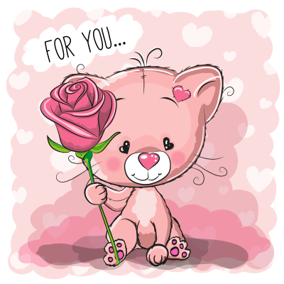Cute kitty with rose flower