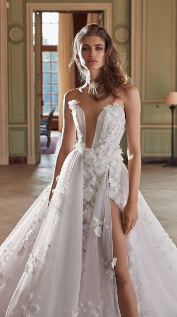 Dripping with 3D petals and clear sparkle embellishments this whimsical A-line - wedding ideas - wedding planning services in Philadelphia PA - weddings ideas by K'Mich - Galia Lahav