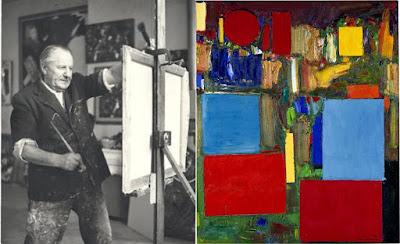 Hans Hofmann em seu atelier pintando uma obra